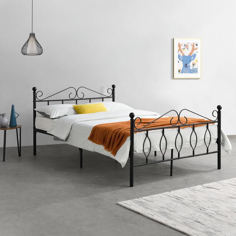Metallbett 140x200 cm Doppelbett mit Kopf-und Fußteil Bettgestell Gästebett Metallgestell mit Lattenrost bis 300kg Schwarz - [EN.CASA]