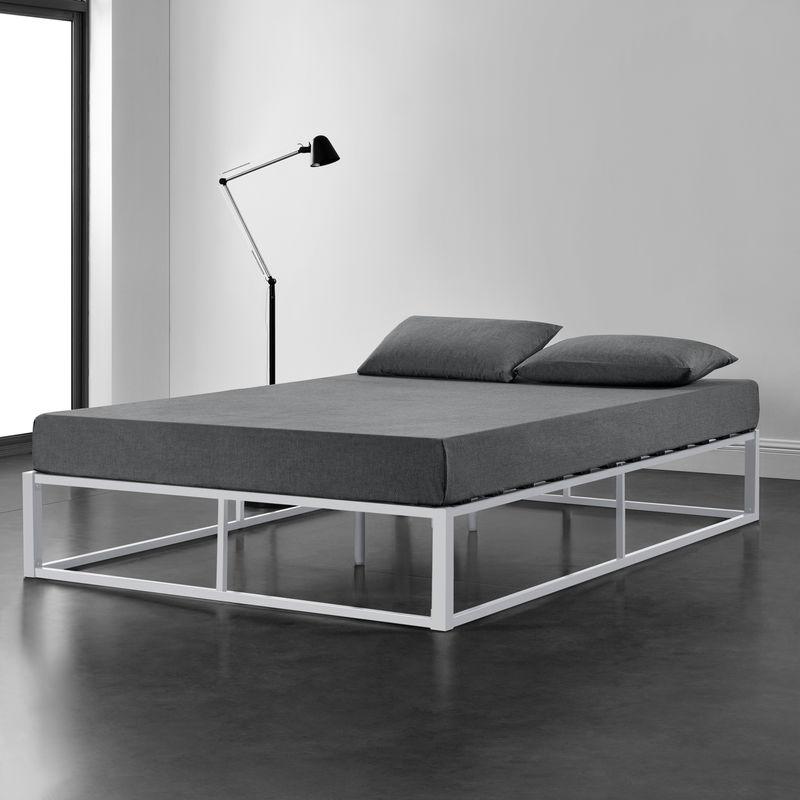 [en.casa] - Metallbett 140x200cm Weiß auf Stahlrahmen mit Lattenrost Bettgestell Design Jugendbett Gästebett Schlafzimmer