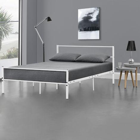 Metallbett 140x200cm Weiß Bettgestell Design Bett Schlafzimmer Metall