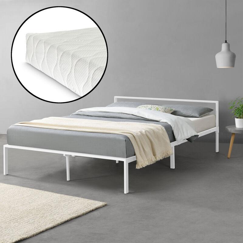 Metallbett 160x200 cm Minimalistisches Bett mit Matratze und Lattenrost Doppelbett Kaltschaummatratze Gästebett Stahl Weiß - [EN.CASA]