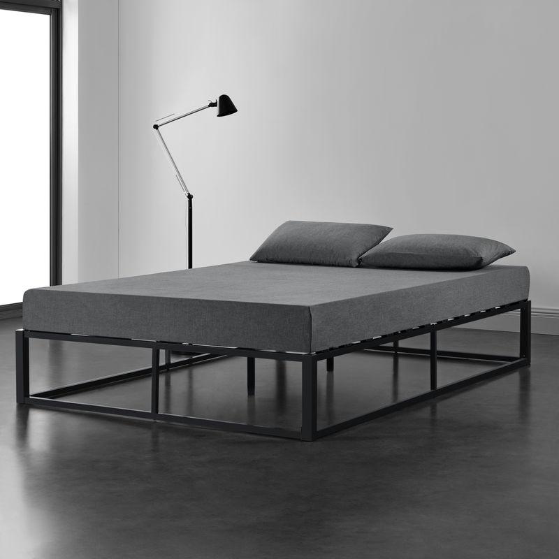 Metallbett 160x200cm Schwarz auf Stahlrahmen mit Lattenrost Bettgestell Design Doppelbett Gästebett Schlafzimmer - [EN.CASA]