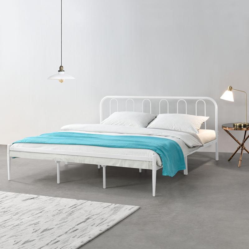 [en.casa] - Metallbett 180 x 200cm Weiß Stahlrahmen Doppelbett Ehebett Bettgestell