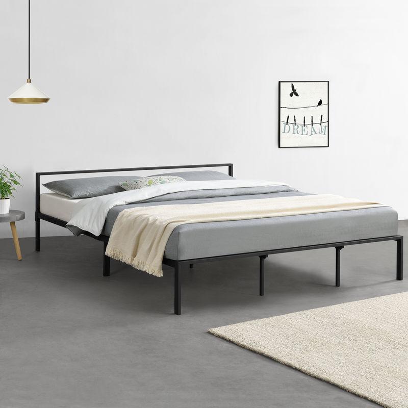 [en.casa] - Metallbett 180x200 cm Minimalistisches Bettgestell Bett mit Lattenrost Stahl Schwarz