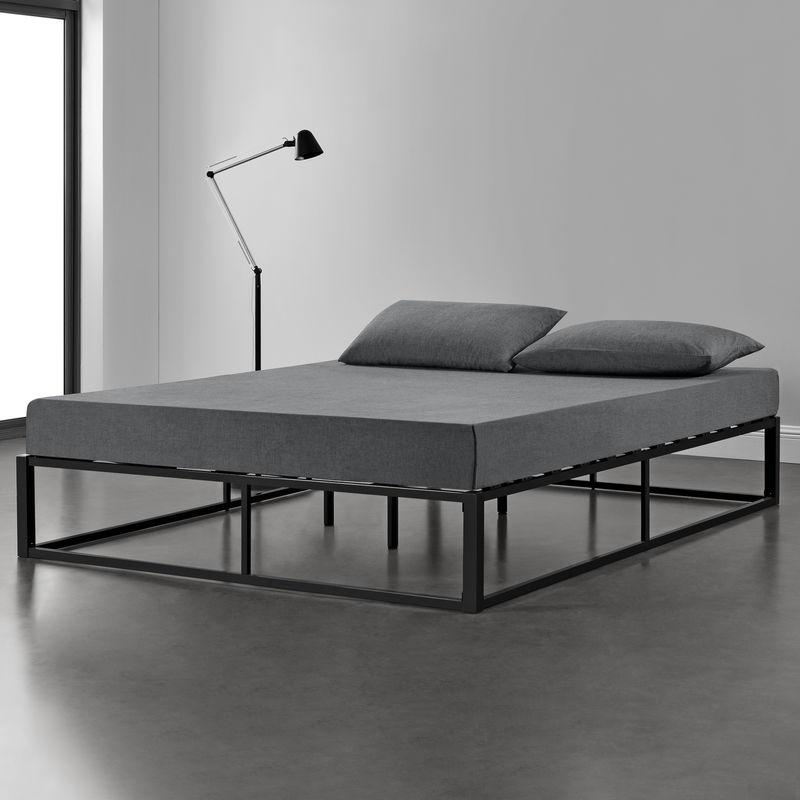 [en.casa] - Metallbett 200x200cm Schwarz auf Stahlrahmen mit Lattenrost Bettgestell Design Doppelbett Ehebett Schlafzimmer