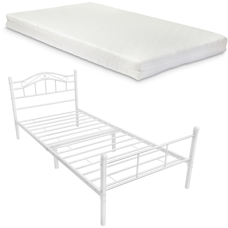 Metallbett 90x200 weiß mit Matratze Bettgestell Bett Jugendbett Metall - [EN.CASA]