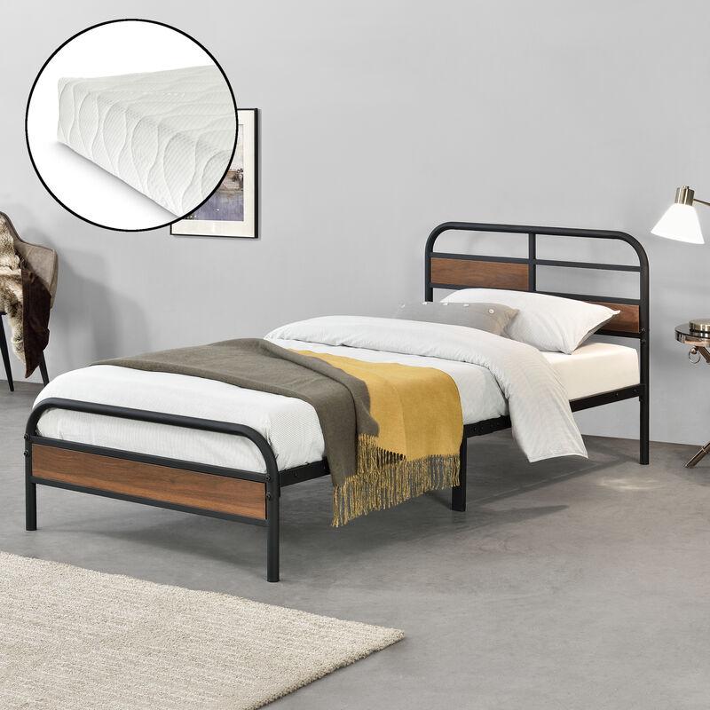 Metallbett Aarau mit Matratze 90 x 200 cm Jugendbett mit Lattenrost und Kaltschaummatratze Einzelbett Metall Bettgestell Schwarz - [EN.CASA]
