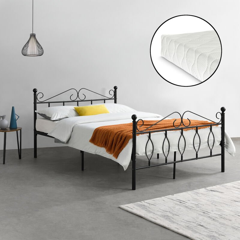 Metallbett Apolda 140x200 cm Jugendbett mit Matratze und Lattenrost Doppelbett mit Kaltschaummatratze bis 300kg Schwarz - [EN.CASA]