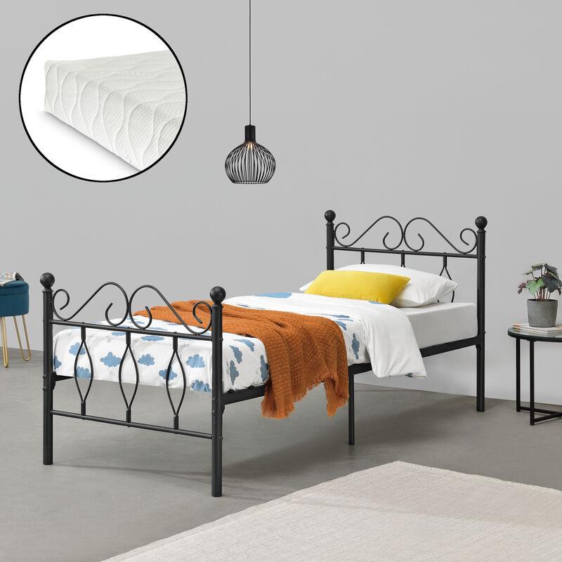 Metallbett Apolda 90x200 cm Jugendbett mit Matratze und Lattenrost Einzelbett mit Kaltschaummatratze bis 200kg Schwarz - [EN.CASA]