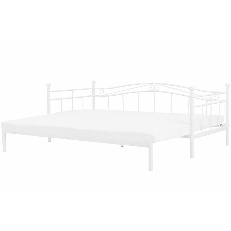 Beliani - Metallbett Weiß 80 x 200 cm Ausziehbar Mit Lattenrost Metall Verzierungen Ausziehfunktion Romantisch Klassisch