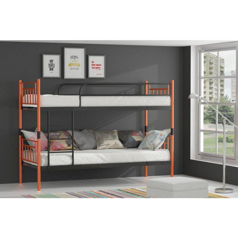 Metallbett DARVIN Orange-Schwarz Hochbett in zwei Einzelbetten teilbar - FUN-MÖBEL