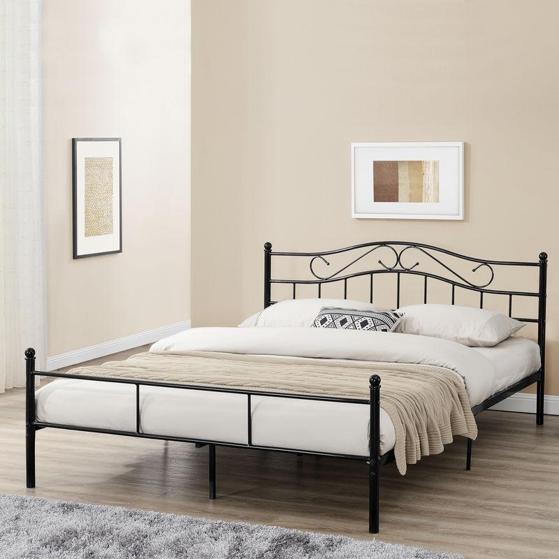Metallbett 180x200cm Schwarz Bett Bettgestell Doppelbett + Lattenrost - [EN.CASA]