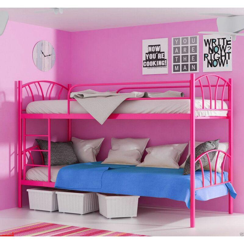 Metallbett LADY Pink Hochbett in zwei Einzelbetten teilbar - FUN-MÖBEL