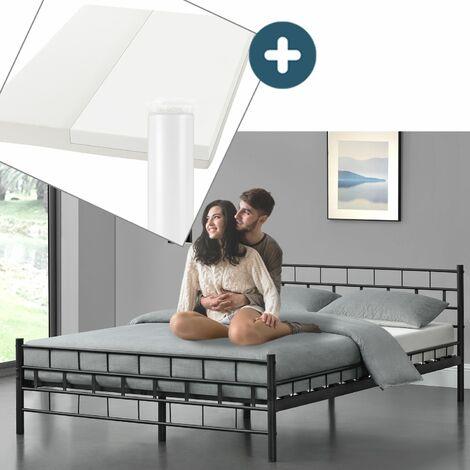 Metallbett Malta 140 x 200 cm schwarz – Komplett Set mit Matratze - Bett mit Lattenrost und Kaltschaummatratze – modern & massiv – große Liegefläche   Artlife