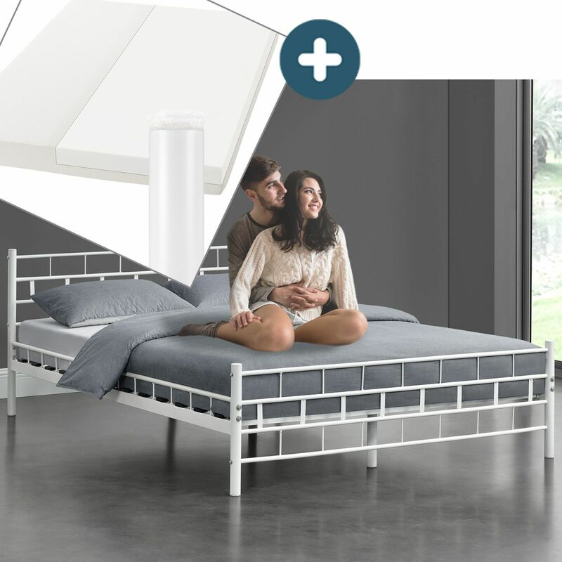 Metallbett Malta 180 x 200 cm weiß – Komplett Set mit Matratze - Bett mit Lattenrost und Kaltschaummatratze – modern & massiv – große Liegefläche |