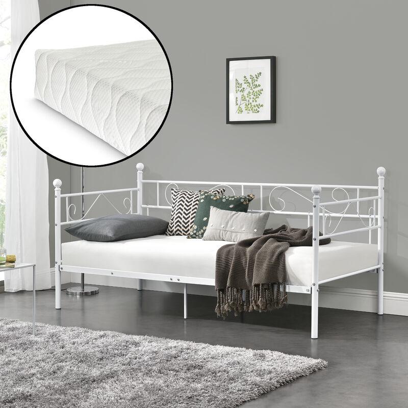 Tagesbett mit Matratze 90x200 Metallbett Bett Daybed Bettsofa Kojenbett - [EN.CASA]