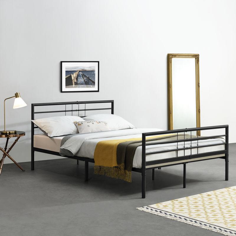 [en.casa] - Metallbett Rovaniemi Bettgestell 180x200 cm Doppelbett Gästebett Schwarz Stahl