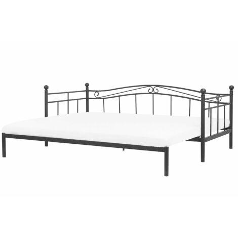 Metallbett Schwarz 90 x 200 cm Ausziehbar Mit Lattenrost Metall Verzierungen Ausziehfunktion Romantisch Klassisch