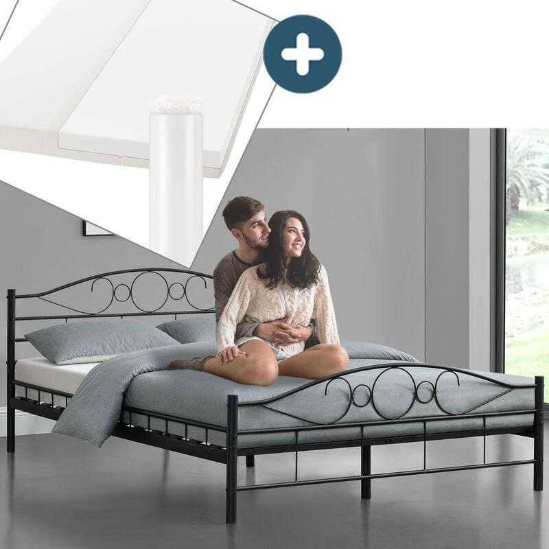 Metallbett Toskana 140 x 200 cm schwarz – Komplett Set mit Matratze - Bett mit Lattenrost und Kaltschaummatratze – modern & massiv – große