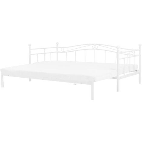 Metallbett Weiß 80 x 200 cm Ausziehbar Mit Lattenrost Metall Verzierungen Ausziehfunktion Romantisch Klassisch