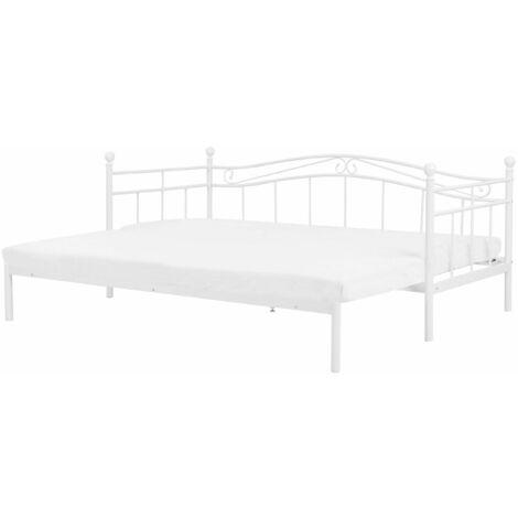 Metallbett Weiß 90 x 200 cm Ausziehbar Mit Lattenrost Metall Verzierungen Ausziehfunktion Romantisch Klassisch