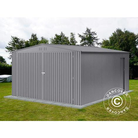 Metallgarage 3,8x4,8x2,32m ProShed®, Aluminium Grau