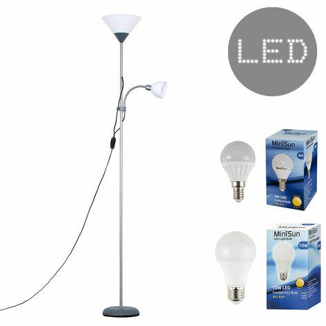 Metallic 2 Way Mother & Child Uplighter & Spotlight Floor Lamp + LED Bulbs - Silver - Silver