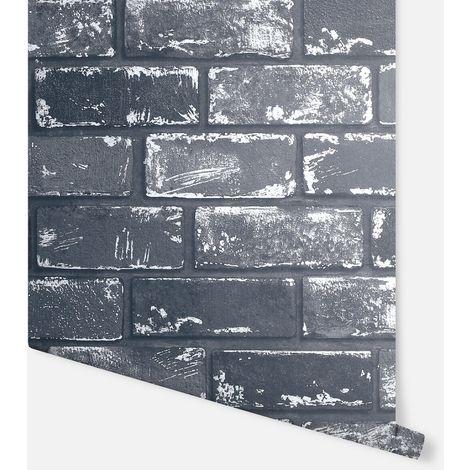 Metallic Brick Black & Silver Wallpaper - Arthouse - 692202