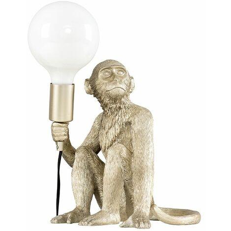 Metallic Champagne Painted Monkey Table Lamp 6W LED Globe Bulb Neutral White - Champagne