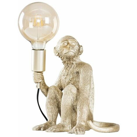Metallic Champagne Silver Painted Monkey Table Lamp 6W LED Filament Globe Bulb Warm White