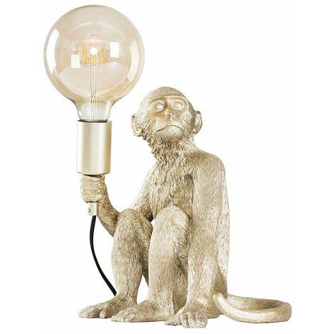 Metallic Champagne Silver Painted Monkey Table Lamp 6W LED Filament Globe Bulb Warm White - Champagne