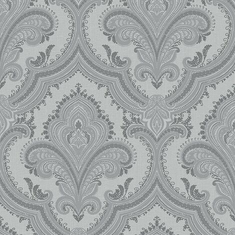 Metallic Damask Wallpaper Design ID Silver Grey Textured Traditional Vinyl
