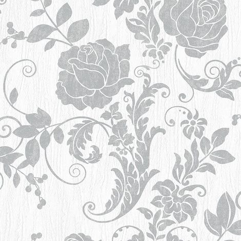Metallic Floral Motif Wallpaper Rasch Grey White Glitter Natural Textured Vinyl