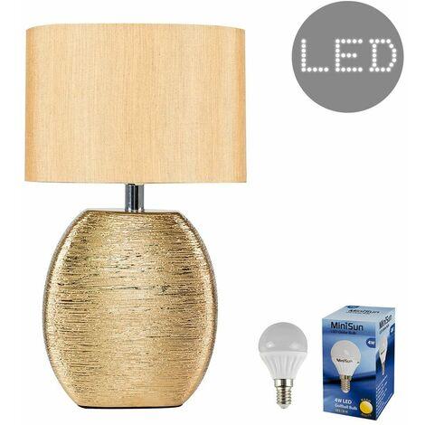 Metallic Gold Ceramic Table Lamp + Fabric Light Shade + 4W LED Golfball Bulb - Warm White - Gold