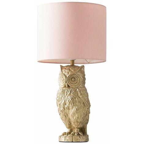 Metallic Gold Owl Table Lamp + Cylinder Shade