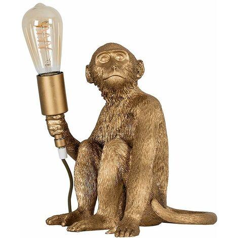 Metallic Gold Painted Monkey Table Lamp + 4W LED Helix Filament Bulb 2200K Warm White - Gold
