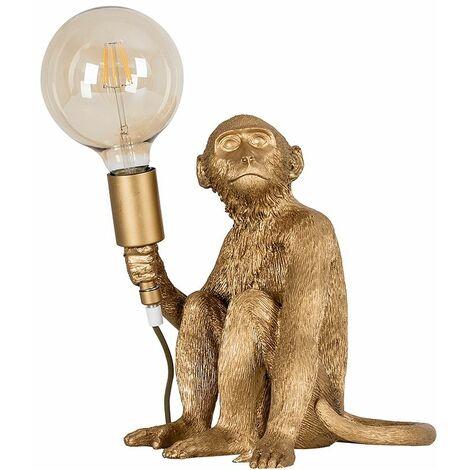 Metallic Gold Painted Monkey Table Lamp + 6W LED Filament Globe Bulb Warm White - Gold