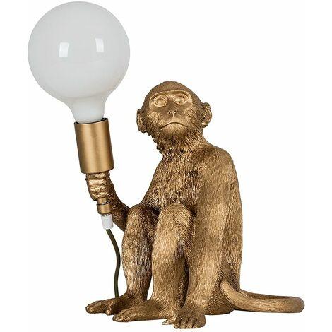 Metallic Gold Painted Monkey Table Lamp + 6W LED Globe Bulb Neutral White - Gold
