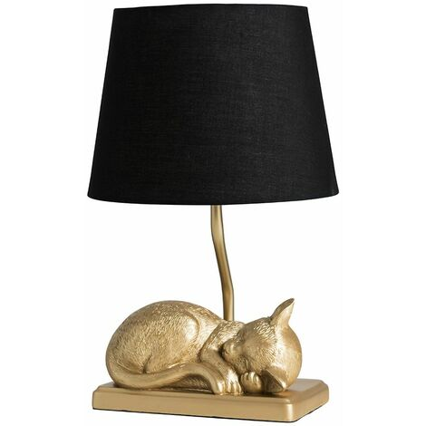 Metallic Gold Sleeping Kitten Table Lamp + Black Shade 4W LED Bulb Warm White