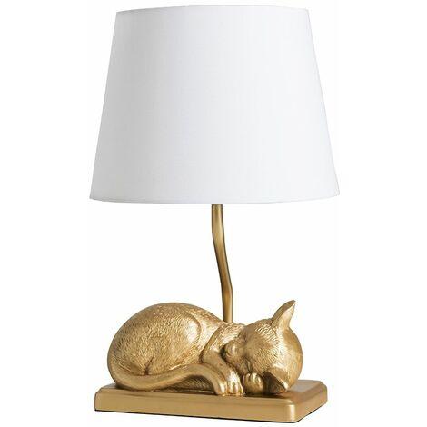 Metallic Gold Sleeping Kitten Table Lamp + White Shade 4W LED Bulb Warm White