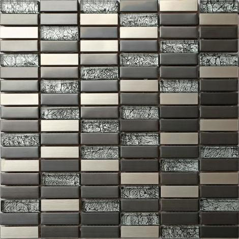 Metallic Mix Brushed Steel Black Hong Kong Glass Mosaic Tiles MT0102