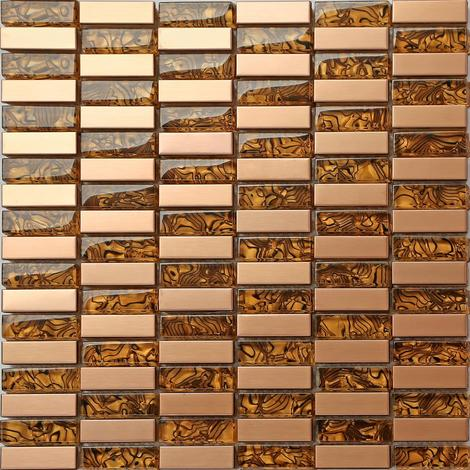 Metallic Mix Brushed Steel Gold Bronze Brass Glass Mosaic Tiles MT0104