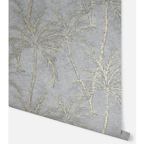 Metallic Palm Grey & Gold Wallpaper - Arthouse - 908503