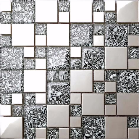 Metallic Random Mix Polished Steel Silver Glass Mosaic Tile (MT0132)