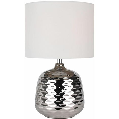 Metallic Silver Chrome Ceramic Dimple Table Lamp Bedside Lights White Grey Shade