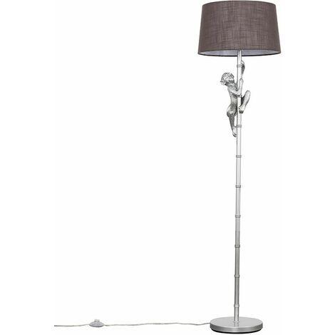 Metallic Silver Hanging Monkey Floor Lamp Animal Light - Dark Grey - Silver