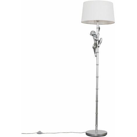 Metallic Silver Hanging Monkey Floor Lamp Animal Light + LED Light Bulb