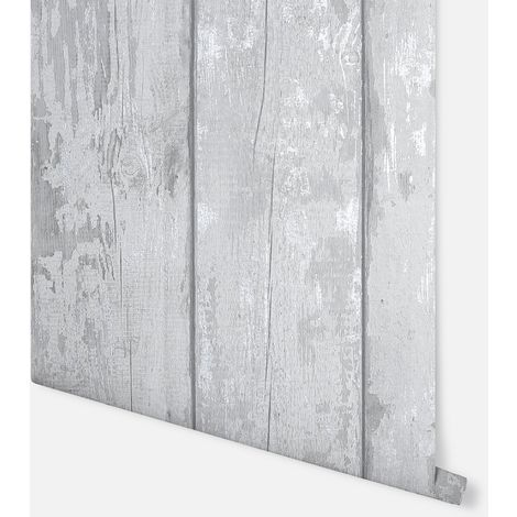 Metallic Washed Wood Grey & Silver Wallpaper - Arthouse - 908501