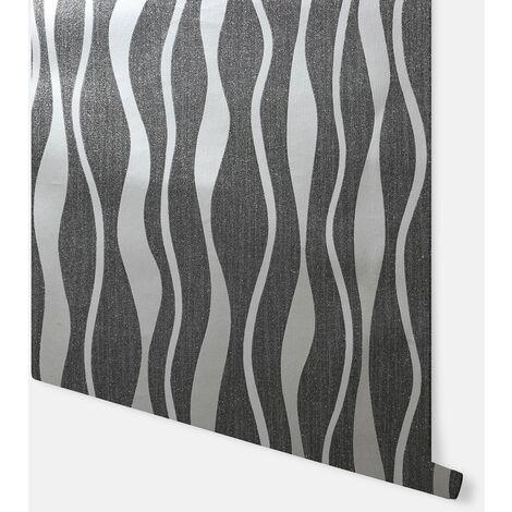 Metallic Wave Black & Silver Wallpaper - Arthouse - 292802