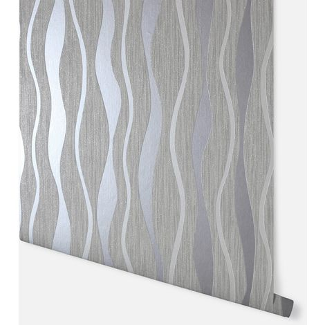 Metallic Wave Grey Wallpaper - Arthouse - 292801