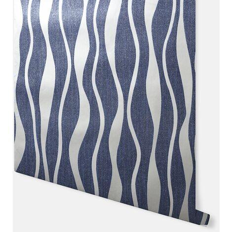 Metallic Wave Navy & Silver Wallpaper - Arthouse - 292803
